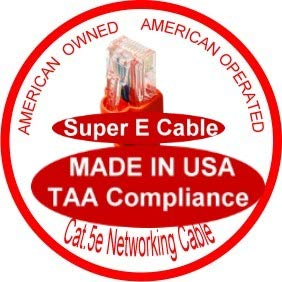 Made in USA UL 24Awg Pure Copper RED USA-0677-80 Ft UTP Cat5e Ethernet Network Patch Cable SuperEcable