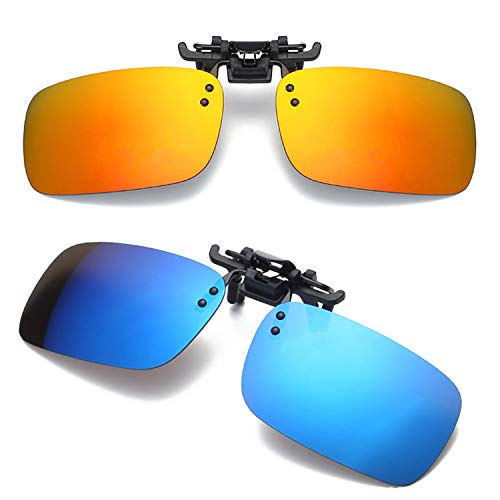 (Men's Polarized Clip-on Sunglasses Anti-Glare UV400 Driving Glasses with Flip Up for Prescription Sunlasses (Orange+Blue))
