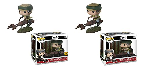 Funko POP Star Wars 40th Anniversary Edition: Luke Skywalker with Speeder Bike LIMITED EDITION CHASE and Princess Leia with Speeder Bike Bobble Head Toy Action Figure - 2 POP BUNDLE