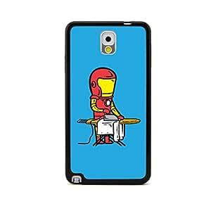 New - Iron Man Super Hero Part Time Job Cartoon Embossed Design Black Bumper Plastic+TPU Case Cover for Samsung Galaxy Note III 3 N9000