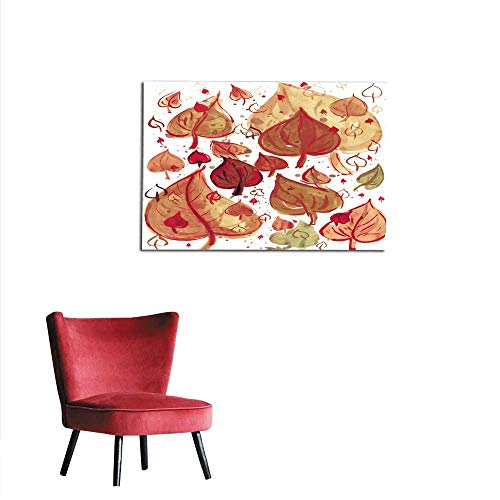 homehot Art Stickers Autumn Leaves Background Watercolor Paint on Paper Mural 36
