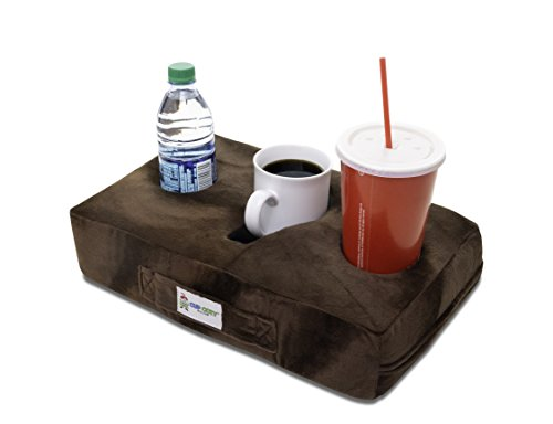 Cup Cozy Pillow (Brown)- The world's BEST cup holder! Keep your drinks close and prevent spills. Use it anywhere-Couch, floor, bed, man cave, car, RV, park, beach and (Portable Cup Holders)
