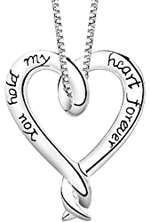 """""""You Hold My Heart Forever"""" Necklace Love Pendant Fashion Jewelry"""