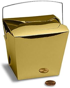 Amazon.com: Color Dorado Metálico chino Take Out Cajas ...