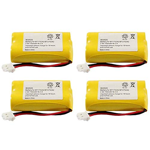 WalR Rechargeable Cordless Phone Battery Ni-CD, 4 Pack, for Sony BP-T50 BPT50 BP-T51 BPT51 BP-TR10 BPTR10 HSCOT50 NTM-910 SPP-N1000 SPP-N1001 SPP-N1003 SPP-N1004 NTM910 SPPN1000 SPPN1001