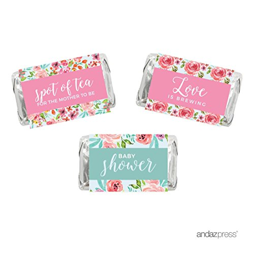 Andaz Press Pink Roses English Tea Party Tea Party Baby Shower Collection, Chocolate Minis Labels, Fits Hershey's Miniatures Party Favors, 36-pack