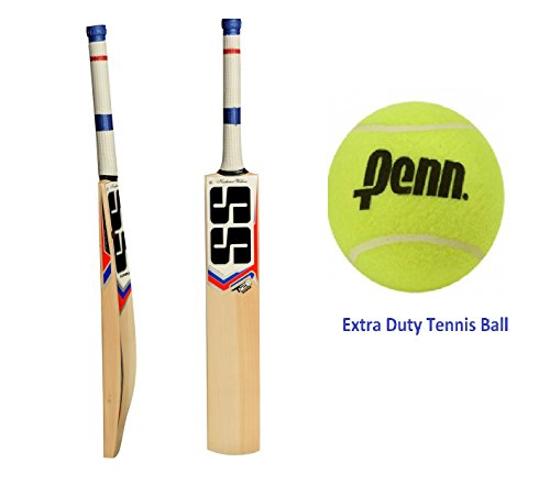 SS T20 POWER Cricket Bat with Penn Extra Duty Tennis Ball - 2018 Edition (Bat Cover included) by SS