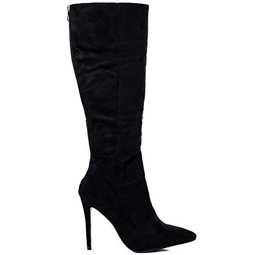Tacco A Spillo Di Onlineshoe Femminile Ladies A Punta Toe Ginocchio Alto Stivali - Nero, Marrone UK8 Black Suede