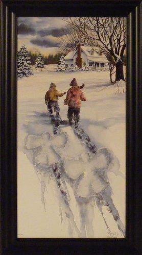 Snow Angels by Michael Capser 19x34 S/N Limited Edition Children Kids Playing Snow Winter Scene Framed Art Print Wall Décor Picture ()