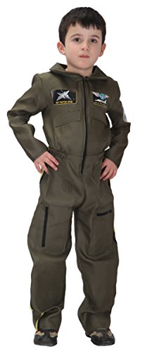 Boys Air Force Fighter Pilot Role Play Halloween Cosplay Costumes Set Jumpsuit (X-Large) Army Green]()