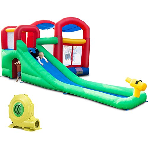 Costzon Inflatable Bounce House, Long Slide Jumping Area Moonwalk Jumper Bouncer Castle (with 950W Air ()