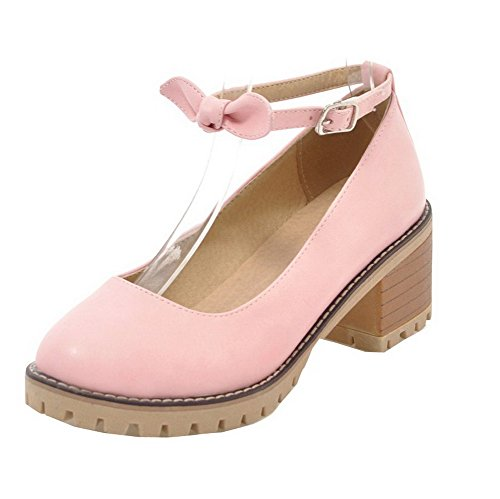 Odomolor Women's PU Buckle Round Closed Toe Kitten-Heels Solid Court Shoes Pink Q8c7EaN