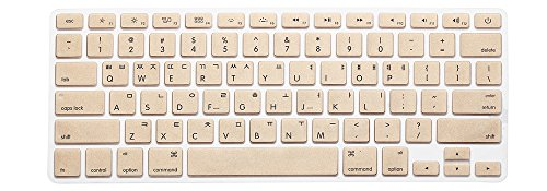 HRH Metallic Gold Korean Language Keyboard Cover Silicone Skin for MacBook Air 13 and MacBook Pro 13