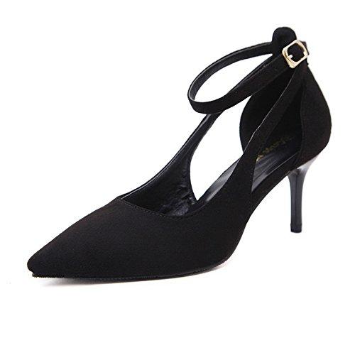 1TO9 1TO9Mmsg00353 - Sandali con Zeppa donna, Nero (Black), 35