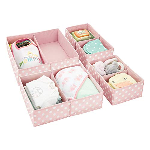 Pink Dot Print - mDesign Soft Fabric Dresser Drawer and Closet Storage Organizer for Child/Kids Room, Nursery - Divided 2 Compartment Organizer - Fun Polka Dot Print - Set of 4, 2 Sizes - Pink with White Dots