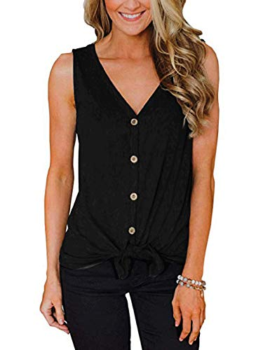 Womens Casual Sleeveless Waffle Knit Tunic Tops Tie Knot Henley Button Down Shirts V Neck Loose Plain Cami Tank Blouse ()