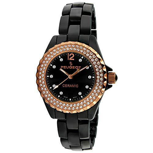 (Peugeot Women Ceramic Wrist Watch with Crystal Bezel and Link Bracelet)