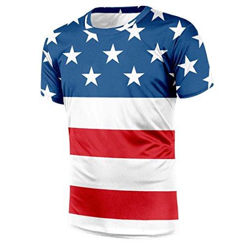 Limsea Hot Sale!Men Printing Tees Shirt Blouse US Stock USA Flag Honor Serve Blouse