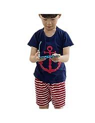 Lymnshi Boys Summer Short Sleeve T-Shirt and Striped Short Sets