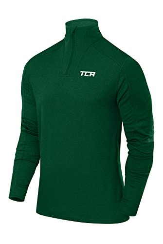 TCA Men's Cloud Fleece 1/4 Zip Thermal Running Top with Zip Pockets - Forest Green, L (Green T-shirt Cloud)