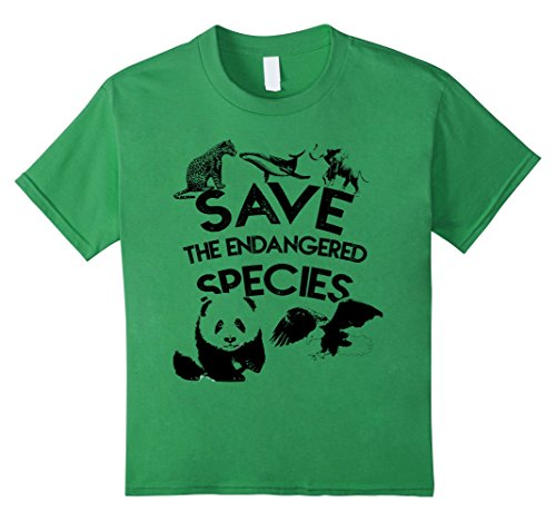 Endangered Species (Kids Kids Save the Endangered Species T-Shirt for boys and girls 4 Grass)