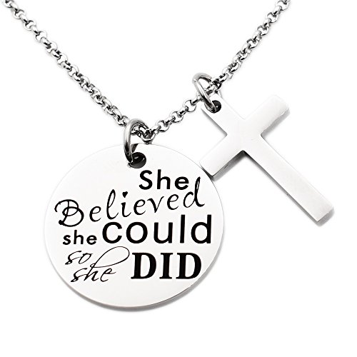 N.egret Necklace Chain Cross Pendant Inspirational Jewelry Quotes Gift for Girl Teen Daughter men Birthday (Believe) ()
