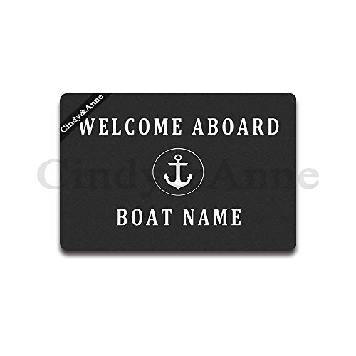 Tdou Custom Welcome Aboard Boat Name Doormat Entrance Floor Mat Funny Doormat Door Mat Decorative Indoor Outdoor Doormat 23.6 by 15.7 Inch Machine Washable Fabric - Welcome Aboard Mat