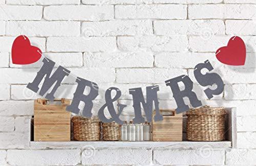Decorative Decorative - Mr Mrs Bunting Wedding Party Banner Garland Photo Props Hanging Decor - Mr Red Wedding Matt Organza Wood Album Mrs Shower Sign Mrs Tulle DIY Topper Book ()