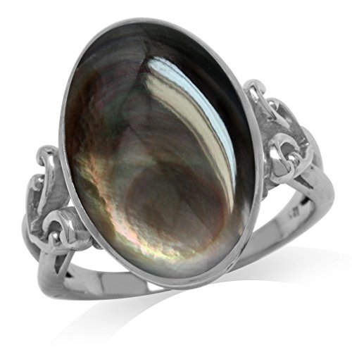 (Black Mother of Pearl White Gold Plated 925 Sterling Silver Victorian Style Heart Knot Ring Size 7)