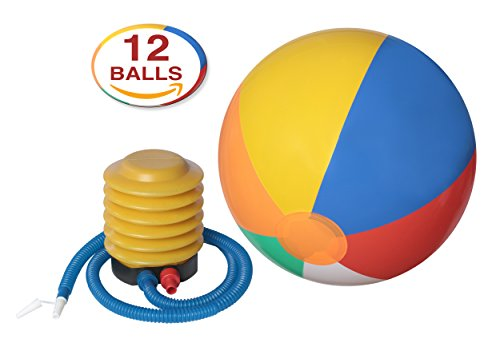 """12-pack Of Inflatable Beach Balls With Air Pump Inflator With Flexible Pipe – 14"""" Inch Colorful Rainbow Balls For Kids - Use As A Swimming Tube / Play Volley Ball / Pool Party Toy - By Dg Sports Picture"""
