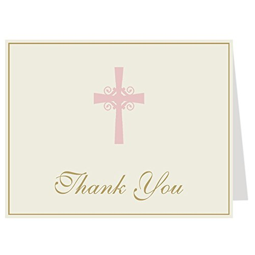 Christening, Confirmation, Baptism, First Communion, Thank You Cards, Religious, Cross, Chevron Stripes, Pink, Gold, Girls, 50 Printed Folding Note Cards with White Envelopes, ()