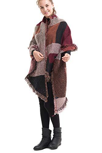 3a30b1726f1 Chaud Avec Hiver Pashmina B Cape A Poncho Manteau Foulard Automne Charpe  Vintage Oversize Plaid Grande Marron Femme Tartan Taille Franges ...