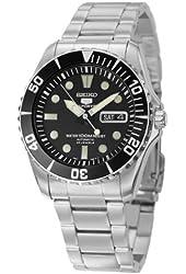 Seiko Men's SNZF17 Seiko 5 Automatic Black Dial Stainless-Steel Bracelet Watch