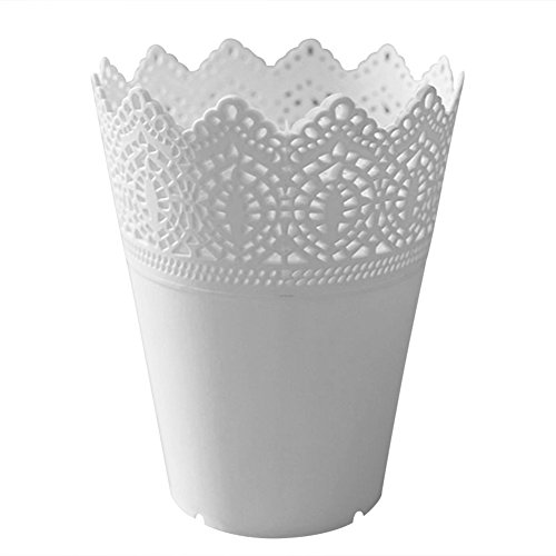 Da.Wa Plastic Hollow Flower Vase Brush Storage Pen Pencil Pot Container Desk Organizer Decorative Home Vase (White)