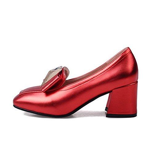 Quadratisch Rein auf Blend Pumps AllhqFashion Absatz Zehe Ziehen Mittler Damen Rot Schuhe 0WH5Hz4qT