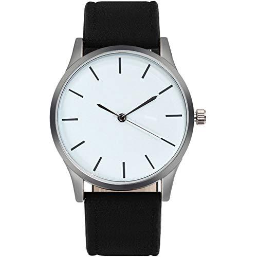 - Fashion Large Dial Military Quartz Men Watch Leather Busis Casual Sport Watches Male Clock Wristwatch,Black Strap White
