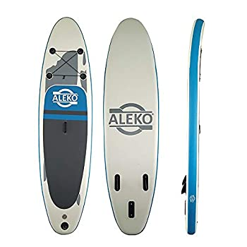 Image of ALEKO PBS01 Inflatable Paddle Board with Carry Bag - Blue and Gray Stand-Up Paddleboards