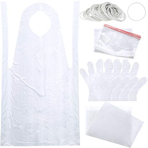 142 Pieces DIY Tie Dye Kits, Rubber Bands Sealed Bags Plastic Gloves Disposable Aprons and Clear Plastic Tablecloth for Dying Shirts Fabrics Crafts Making Supplies ()