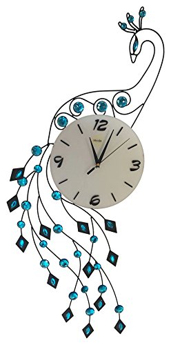 Peacock Crystal Metal Clock,Silent (S150)