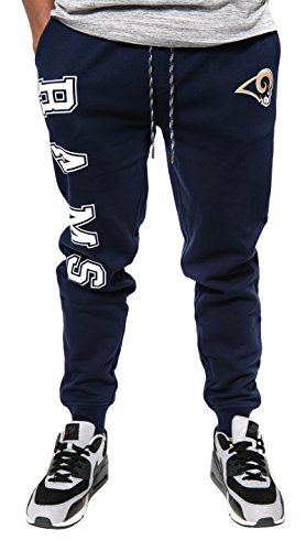 NFL Los Angeles Rams Men's Team Logo Active Basic Fleece Jogger Pants, Navy, Medium
