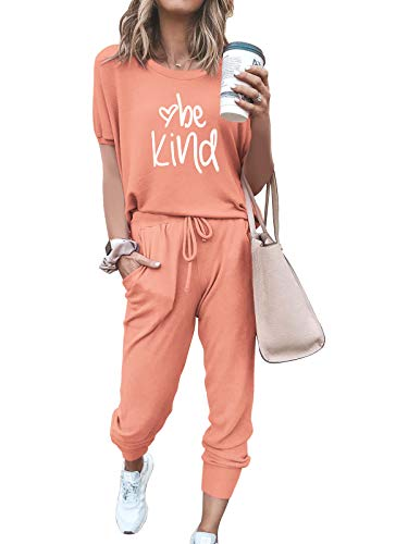 FARORO Lounge Sets for Women 2 Piece Outfits Short Sleeve Tops + Long Pants Joggers PJ Sets Nightwear Loungewear