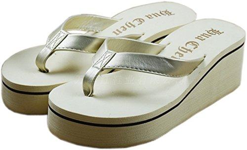 Bettyhome Kvinnor Mode Remmar Avslappnade Kilar Sandaler Strand Flip Flops Tofflor (7 B (m) Oss = Eur 38, Beige)