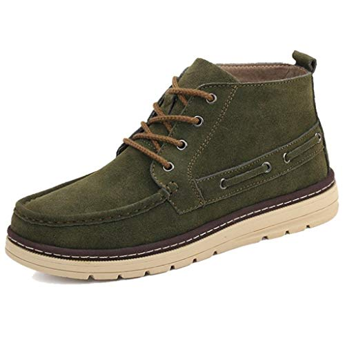 TRULAND Men's Suede Leather Lace Up Ankle Boat Deck Chukka Sneaker BootsTextile/Fur Lining (8.5 D(M) US,Green) - Leather Boat Chukka
