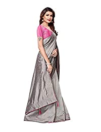 ETHNICMODE India Women's sana Silk with Handwork on Border Style Saree with Blouse Piece (Multi-Color_Free_Size) Silver Pearls Grey