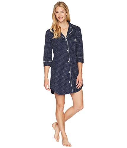 - Lauren Ralph Lauren Women's Essentials Bingham Knits Sleep Shirt Navy Polka Dot X-Large
