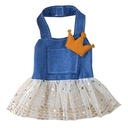 YOTATO Dog Cat Dress Jean Bowknot Pet Puppy Clothing Princess Skirt -