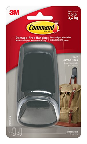 Miscellaneous Rod - Command Jumbo Hook, Slate , 1-Hook (17088S-ES)