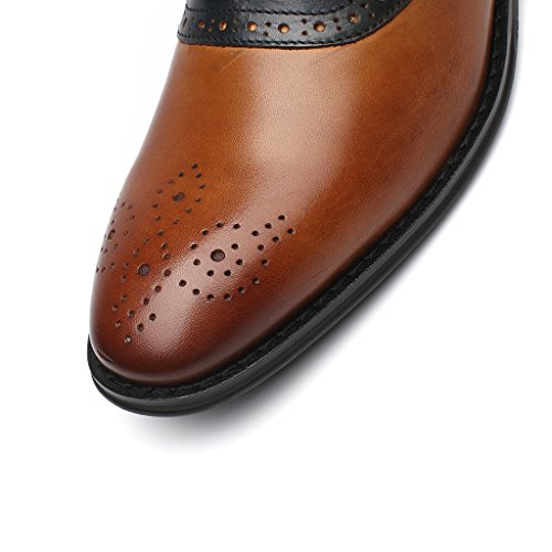 La Milano Mens Oxfords Klassiska Moderna Rund Captoe Två Ton Skor Doubo-1-cognac / Marinblå