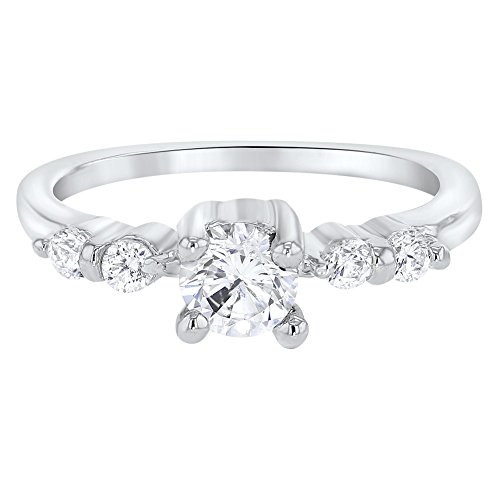 In Season Jewelry Rhodium Plated Clear Crystal Small Solitaire Toddler Rings for Girls