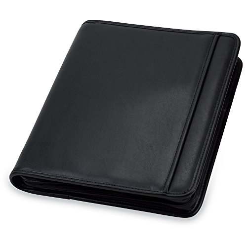 "Samsill Professional Padfolio / Portfolio with Zippered Closure Case, 1 Inch Round Ring Binder, Interior 10.1"" Tablet Sleeve, Black"